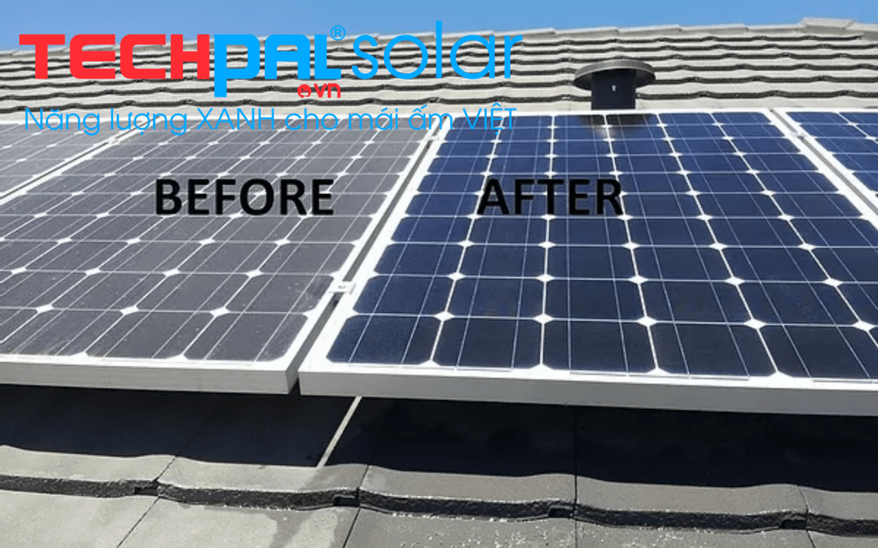 Trước và sau khi thực hiện vệ sinh pin mặt trời